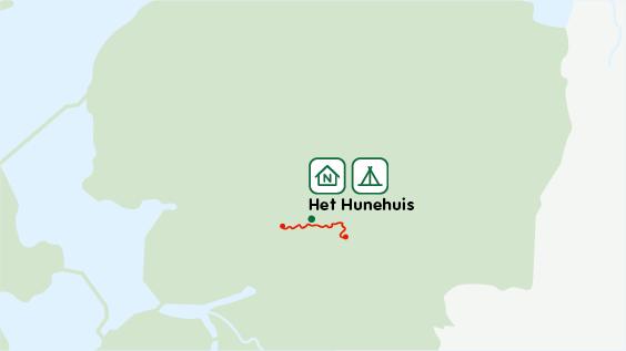 Hunehuis trektocht op een kaart van Nederland